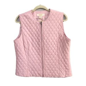 Peck & Peck Pink Quilted Leather Zip Front Vest